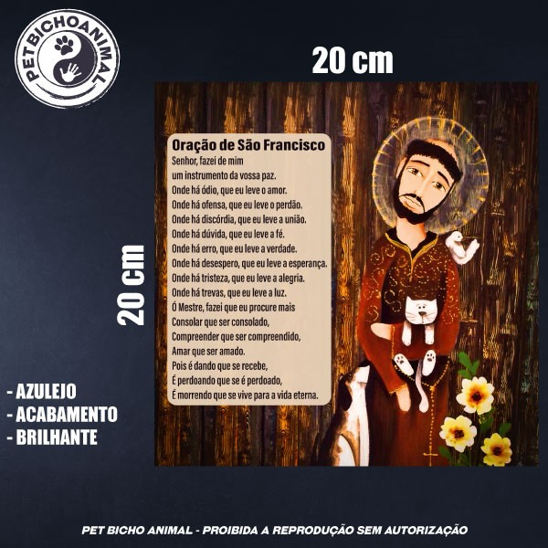 Azulejo Decorativo - Oração São Francisco de Assis 2