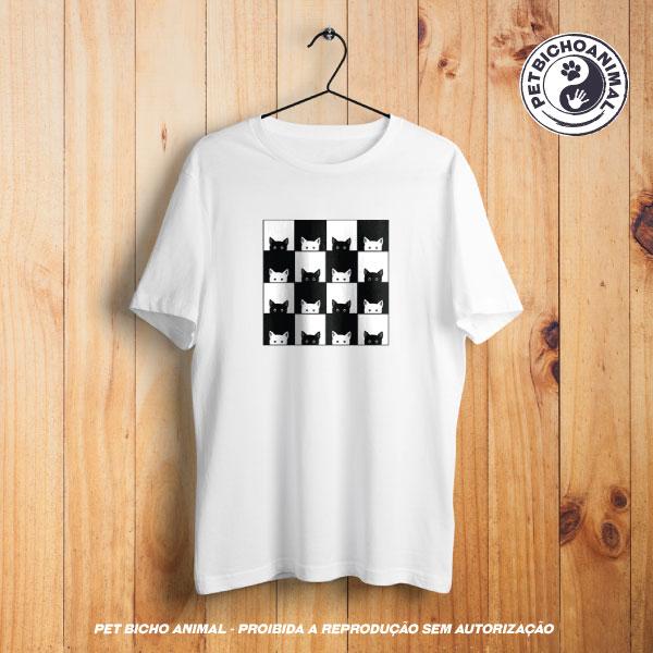 Camiseta - Xadrez de Gatos 1