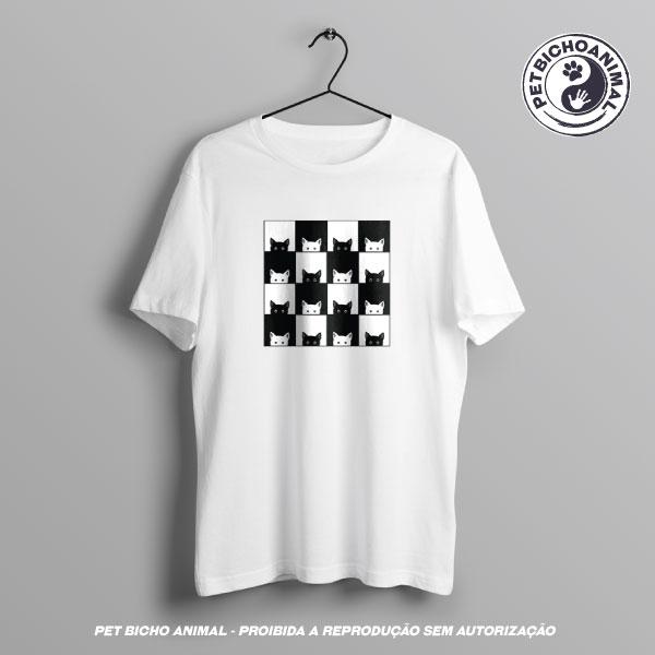 Camiseta - Xadrez de Gatos 2