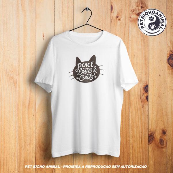 Camiseta - Peace, Love & Cat 1