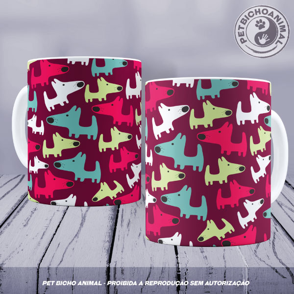 Caneca Cachorros Coloridos 1