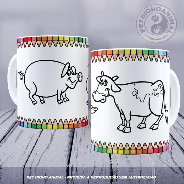 Caneca para Colorir - Animais da Fazenda 1