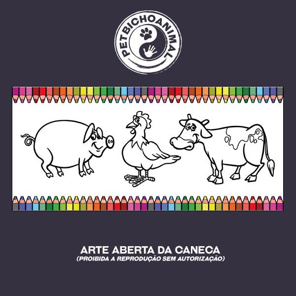 Caneca para Colorir - Animais da Fazenda 2