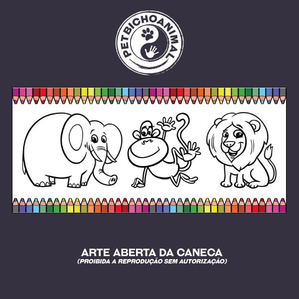 Caneca para Colorir - Animais da Selva 2