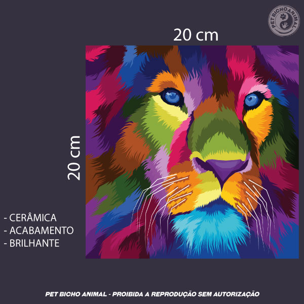 Azulejo Decorativo - Leão em Cores 3