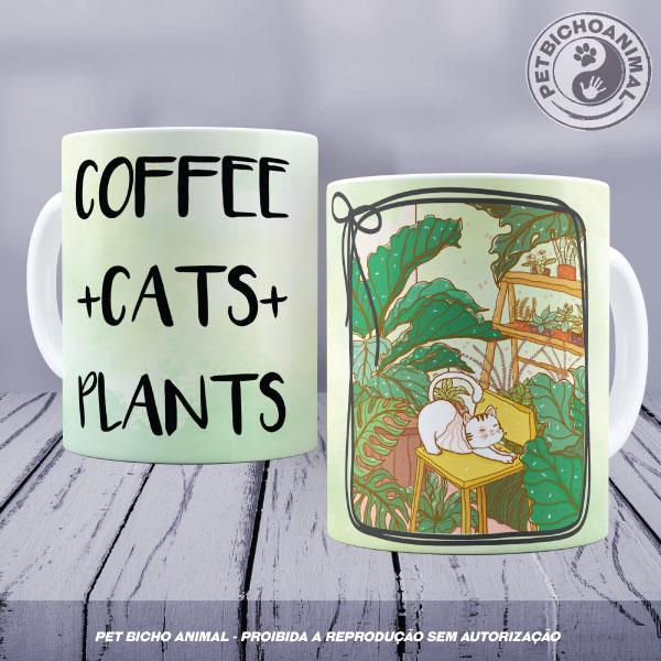 Caneca - Café, Gatos e Plantas 1