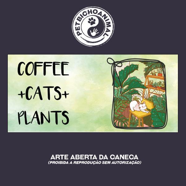 Caneca - Café, Gatos e Plantas 3