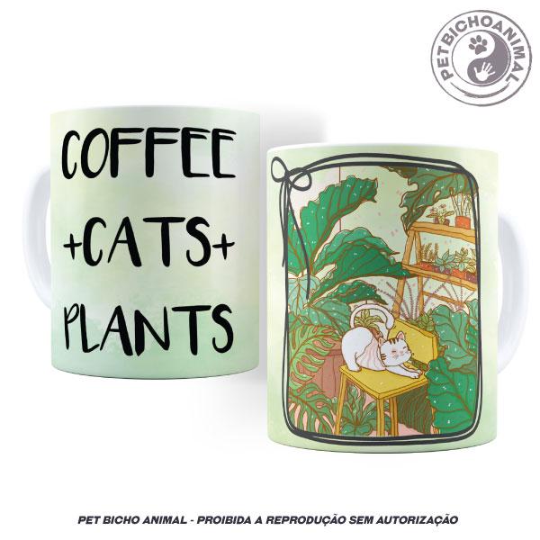 Caneca - Café, Gatos e Plantas 2