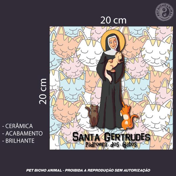 Azulejo Decorativo - Santa Gertrudes de Nivelles - Padroeira dos Gatos 3