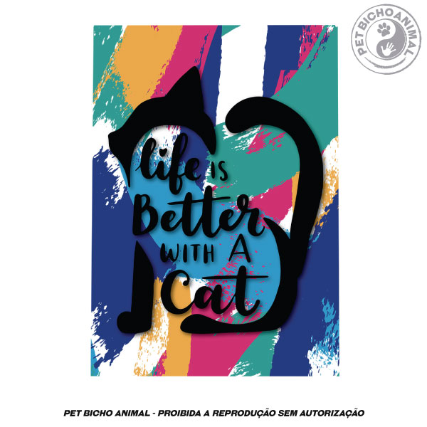 Quadro A Vida é Melhor com Gato 2